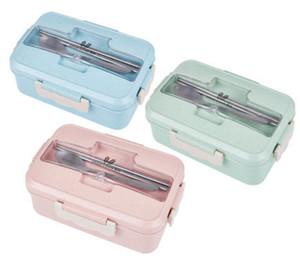 전자 레인지 점심 상자 밀 밀짚 식탁 식품 보관 용기 어린이 키즈 학교 사무실 휴대용 도시락 상자