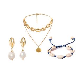 Mode seemuschel Seestern Nachahmung Perlenkette Ohrringe Armband Schmuck-Set 3-teiliges Set Damen Geburtstagsgeschenk