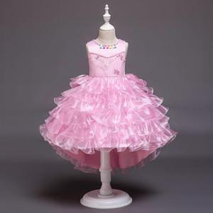 Flower Girl Dress 5 couleurs manches filles robe de bal robe de soirée de O-cou étage longueur enfants élégant Dresse E200113