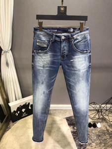 TOP Klasik Stil Erkek Jeans Moda Düz Gri Fit Varış Biker Mavi Jeans Pantolon sıkıntılı Şiddetli yıkama Üst Kot Boyut 29-4