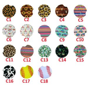 18 Stili di baseball leopardo Cactus neoprene auto Coasters Cup Car Holder Coasters per la Coppa auto Tazze Mat Tabella Decor Accessori ZZA2118