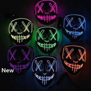 Halloween Mask LED Light Up Funny Masks The Purge Elections Year Great Festival Cosplay Costume Supplies Party Masks EEA470