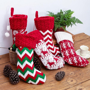 5styles Knitted Christmas Stockings Xmas Tree Hanging Candy Gift Bag Festival Holiday Decor Ornaments Kids Xmas Gift Hanging Bags FFA2939