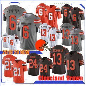Cleveland 6 Baker Mayfield Brown maglie 13 Odell Beckham Jr Jersey 95 Myles Garrett 24 Chubb 80 Landry 21 Denzel Ward calda nuovo Jersey