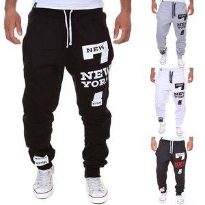 Hot Men New York Letters Printed Pants Gym Joggers Cotton Blend Lace-up Pants