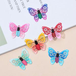 Encantos do oco borboleta colorida Pingente 10pcs / lot Metal Crafts Conectores pulseira jóias brinco para fazer acessórios DIY