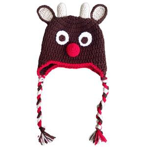 Cappello lavorato a maglia all'uncinetto rosso Rudolph Red Moose Hat, cappello di renna di Natale Baby Boy Girl, tappo a cuffia infantile Earflap, puntello foto neonato