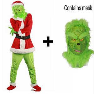 2018 Brand New Sale Weihnachtsmann Grinch Maskottchen Kostüm Stola Weihnachtsfeier Anzug Outfits für Männer Frauen