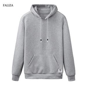 FALIZA 2019 New Spring Autunno Hoodies Uomo Casual Sportswear manica lunga di colore solido con cappuccio felpa giacca streetwear WY110
