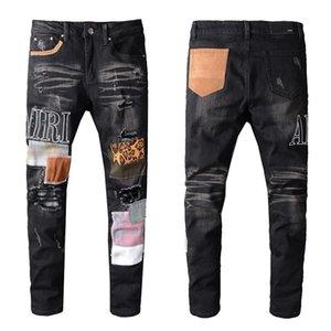 20ss дизайнер Франция treet tide AMIRI хип-хоп джинсы Европейский и американский Amiri брызнул леопардовый принт промытые дырочки вышивка брюки #615
