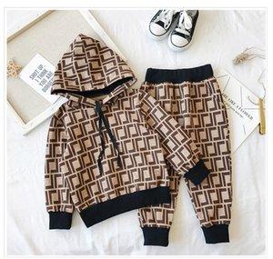 Vestiti dei capretti Set 2020 Print tute sportive lettera F con cappuccio + Pantaloni Ragazzi Ragazze Childs casual Soprtwear 2 Stili