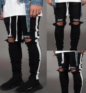 Novo Mens Jean Pantalones Rua Buracos Pretos Designer Branco Listras Calça Jeans Hiphop Skate Lápis Calças