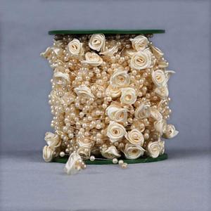 30M / lot 6 couleurs Vaporiser Bouquet de 4 mm artificielle Mini résine perle 12MM ruban satin Faux Roses bricolage Décoration pour mariage Accueil