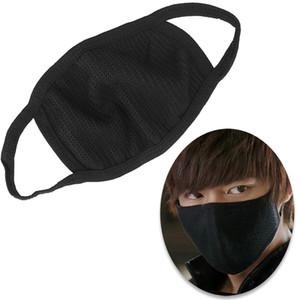 Черный Bilayer Хлопок Рот маска анти туман туман моющийся многоразовый двухслойный Рот-муфельной Пыль теплая зима маска Бесплатная доставка