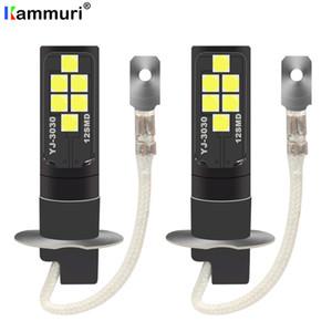 KAMMURI 2pcs Super Bright H1 H3 светодиодные лампы Свет для автомобилей высокой мощности Led Противотуманные фары 12smd света автомобиля Исходники для противотуманных фар дальнего света