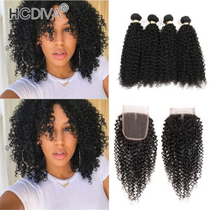 HCDIVA Brazilian Kinky Curly Bundles With Closure Human Hair Weave 4 Bundles With Closure Unprocessed Remy Bundles With 4x4 Lace Closure