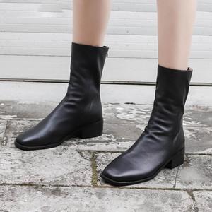 여자의 진짜 leathr 다시 지퍼 발목 부츠 아파트 가을 오토바이 부츠 고품질 여성 짧은 부츠 펑크 신발 여성을위한