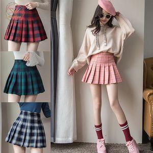 Plus Size Harajuku Short Skirt New Korean Plaid Skirt Women Zipper High Waist School Girl Pleated Plaid Skirt Sexy Summer Mini