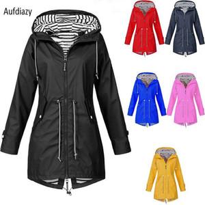 Aufdiazy Rain Jacket Veste Imperméable Womens New Outdoor Vestes À Capuche Manteau De Pluie Coupe-Vent Longue Tranchée Manteau Imperméable IM106