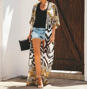 2020 Sexy Bohemian Printed Long Kimono Cardigan Chiffon Blouse Summer Beachwear Clothing Plus Size Women Shirts Top Female N912 T200320