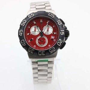 Formülü Bir Chronograph Kırmızı Dial Çelik Blacl Çerçeve Çelik Kayış Kuvars Pil Hareketi Erkekler Saatı F1 Etiketi Erkek Saatler