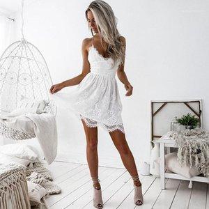 Sexy Lace Pescoço V Backless mangas Cami Vestido Famale Designer roupa das senhoras Alças Fishtail vestido de verão