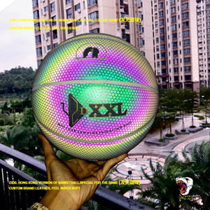 El más nuevo DXXL 5º Holográfico Luminoso de baloncesto Fancy polar light baloncesto negro bola de cuero de LA PU interior de baloncesto tamaño 7
