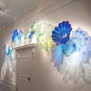 Einzigartige Wandleuchten Blue Glass Abstract Wall Lamp Hand geblasenem Glas dekorative Teller hängende Wand Kunst für Wohnzimmer freies Verschiffen