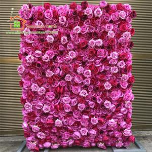 12pcs / lot mur de fleurs artificielles pour Roses rouges chaudes pivoine mariage toile de fond en plein air Arch Table Center Décoration florale 3D