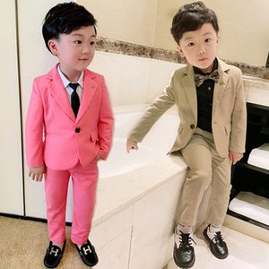 90-140cm New 2020 Boys Gentleman Suits for Wedding and Birthday Boys Dresses Suit Coat+Pant Clothing Sets 2pcs Children Costume