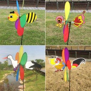 저렴한 장식 말뚝 바람 스피너 새로운 판매 3D 대형 동물 꿀벌 풍차 바람 회 전자 물매 마당 정원 장식