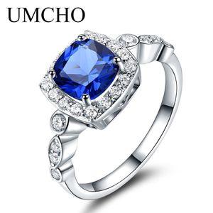 Umcho Solid 925 anelli in argento sterling blu zaffiro anelli per le donne Birthstone regali anello smeraldo nozze fidanzamento gioielli regalo Y19061003