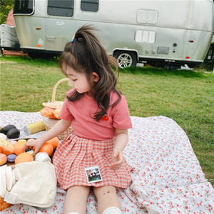 Girl Designer Clothing Sets Fashion Kids Girls Embroidery Short Sleeve T-shirts + Pleated Skirt Children Suits Summer New Two Pieces
