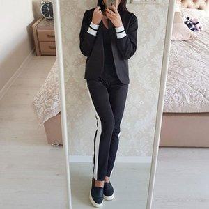 Taotrees terno das mulheres do escritório senhoras calça casual + jaqueta terno confortável senhoras sportswear simples roupas de moda