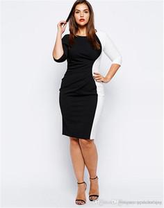 Patchwork Renk Kadın Kalem Elbise Plus Size Siyah Uzun Kollu Seksi Bayanlar BODYCON Elbiseler Moda Kadın Giyim