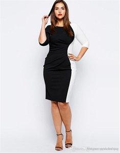 Patchwork Color Plus Mujer Larga Ropa Tamaño Negro Mujeres Vestidos de Moda Damas Bodycon Manguito Vestidos Vestidos Sexy Srjfk