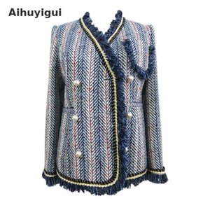 Aihuyigui 2019 Women Blue 술 Jacket Coat 우아한 Striped Woven Tweed Elegant Jacket Outer Coat Mujer Dr643