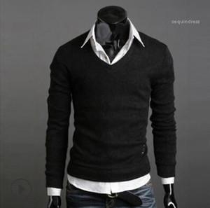 Tricoté Sweatshirts Printemps Automne Automne Angleterre style talonnage Pulls Hommes Designer V-cou