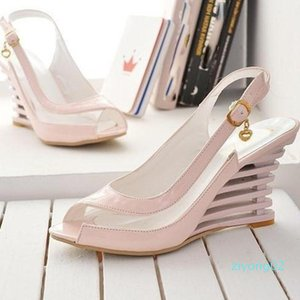 2020 Women's Sandals Ladies Back Strap Buckle Belt Fish Mouth Wedge Heel High Sandals Fashion Women Shoes High quality z02