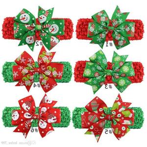 Christmas Baby Childrens Fasce Cute Xmas Pattern Hairbands Arco annodato Fascia Fashion Colorful Santa Copricapo Indossando la fascia per capelli