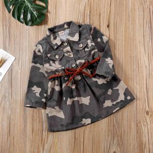 Kleinkind-Baby-Mädchen Langarm-Camouflage Tops + Gürtel Sommer-Outfits Kleidung 2ST