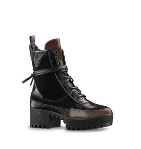invierno nuevas botas cortas con Martin plataforma botas de cuero de tacón alto gruesa suela de las botas de las mujeres de la locomotora de combate + caja r07