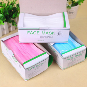 Disposable Face Mask masks  mouth mask three -layer household protective field free DHL with box full english box