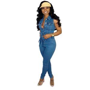 Tmustobe BODYCON Bandaj Denim Jumpsuit Kadınlar Kolsuz Moda Casual Jeans Tulum Kadın Botton Kalem bodysuit