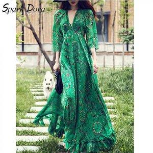 Vestito sexy di trasporto di modo Streetwear Hit colori raccolga la vita Flare manica con scollo a V lungo abito Lotus Leaf Green Vestidos