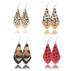 Fashion Leopard Women Statement Earring Gifts Winter Dangle Multi-color Ear Drops Genuine Leather Earrings for Women Leaf Eardrop