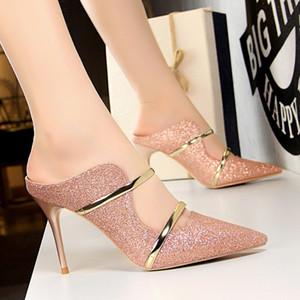 Seksi Hollow Kadınlar Altın Gümüş Yüksek Topuklar Kadın Ayakkabı Kitten Topuklar Stiletto Moda Bling Düğün Ayakkabı