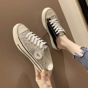 Metade fundo plano chinelos feminino primavera e verão novo sem calcanhar um pé baotou casuais lantejoulas usar sapatos de lona preguiçoso