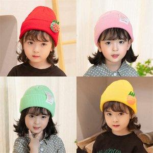 Ins style nordique lettre couleur unie étiquette bébé mignon chapeau tricoté enfants chapeau melon chapeau de laine de curling