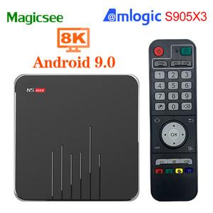 Н5 Magicsee Макс 9.0 для Android TV коробка Смарт-tv коробка Amlogic S905X3 4 ГБ/64 ГБ 2.4 г/5.8 г беспроводной БТ телеприставки